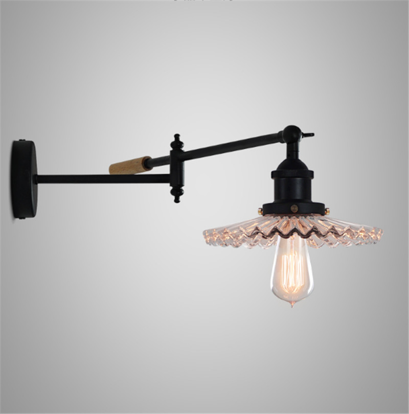 black finished glass shade adjustable goose neck wall lamp fixture D200mm glass shade room shop bedroom beside light decoration d200mm white glass round ball shade fabric wire pendant lamp fixture brass drop modern home lighting bedroom cafe decoration