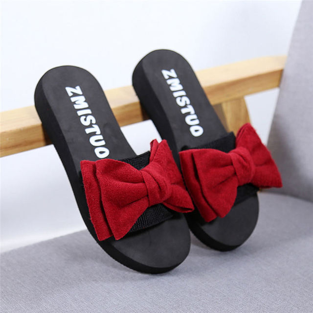 Slippers Women Summer Bow Summer Sandals Slipper Indoor Outdoor Flip-flops Beach Shoes Female Fashion Shoes