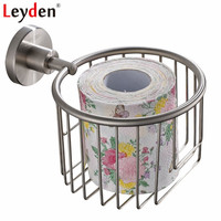 Leyden Wall Mounted 304 Stainless Steel Single Tier Brushed Toilet Paper Basket Paper Holder For Bathroom Accessories