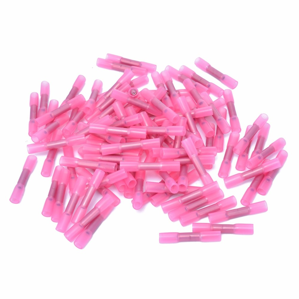 200pcs Pink+Blue Heat Shrink Insulated Butt Wire Crimp Terminal Connector For Electrical Equipments Supplies 50pcs mixed heat shrink butt terminal high quality electrical heat shrink butt wire cable crimp connector 3 color