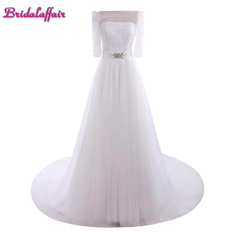 BridalaffairReal Photo Cheap White Chiffon A Line Wedding Dresses 2017 Simple Sweep Train Boat Neck Bridal Gown Vestido de noiva