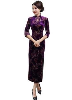 Shanghai Story Keyhole Velvet Qipao Chinese traditional Dress chinese Oriental dress 3/4 Sleeve long Cheongsam Dress For Autumn