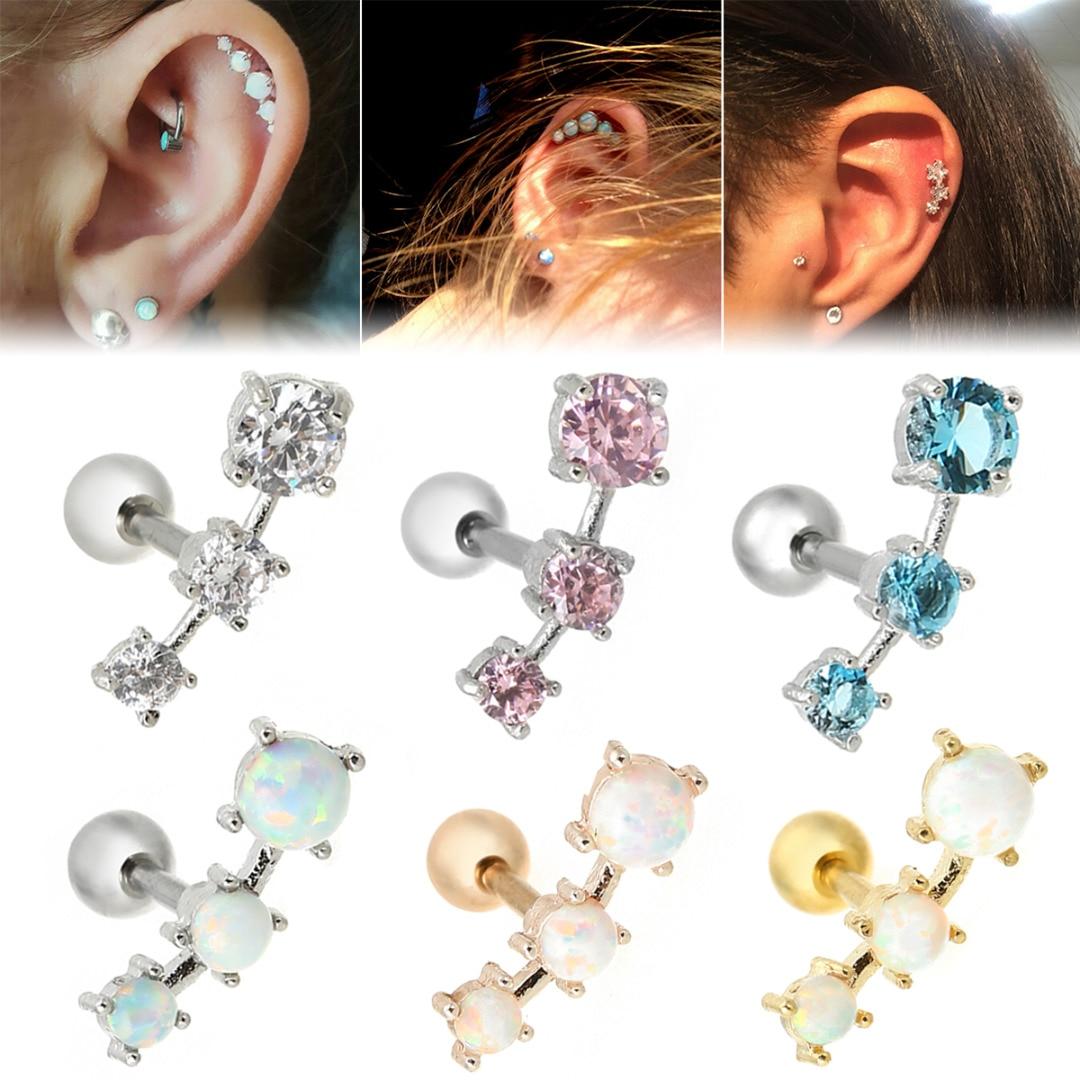 Fashion Earrings Cartilage Piercing Shellhard Barbell Opal Stone Crystal Ear Stud Piercing Tragus For Women Body Jewelry 16G