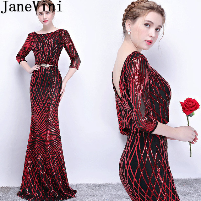 JaneVini 2018 Gold Sash Sequin Mermaid Evening Dress Long Half Sleeve Shiny Mother of The Bride Wedding Party Dress Dinner Gown