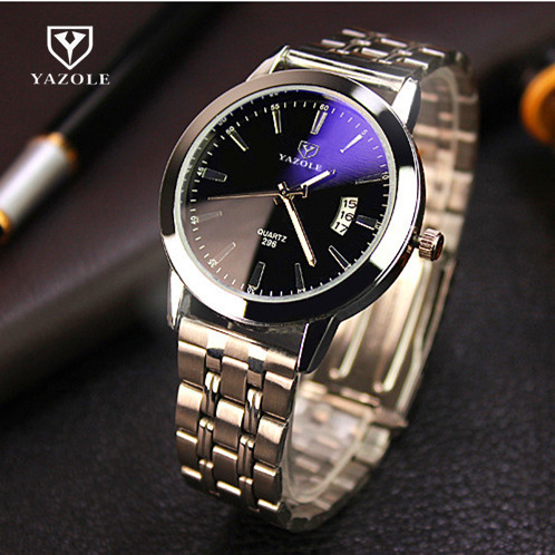 YAZOLE Brand Fashion Blue Glass Auto Date Quartz Watch Men Luxury Watch Waterproof Full Steel Watches Luminous Hour reloj hombre longbo top brand luxury lovers watch fashion full steel quartz watch men women waterproof auto date watches unisex hour montre
