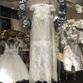 2016 Blanco/de marfil Del Bautizo Del Vestido Palabra de longitud Apliques de Encaje Suave Vestido de Niña Vestidos de Primera Comunión Bautismo con capó