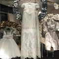 2016 White/ivory Christening Gown Appliques Soft Lace Floor-length Baby Girl First Communion Dresses Baptism Dress with bonnet