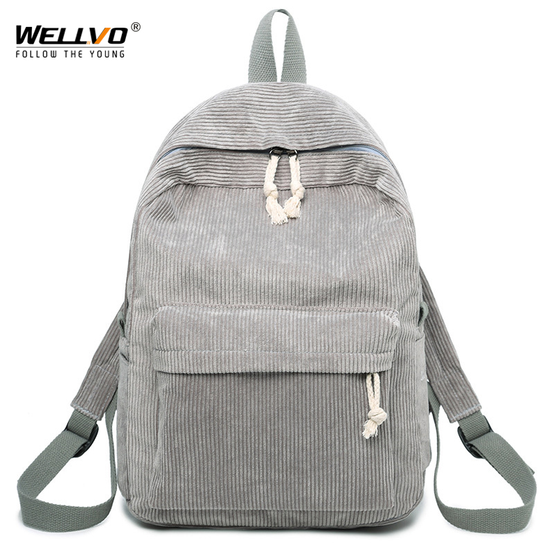 Wellvo Women Corduroy Backpack Solid School Bags For Teenage Girls Students Notebook Shoulder Travel Bag Fashion Backpacks XA52C