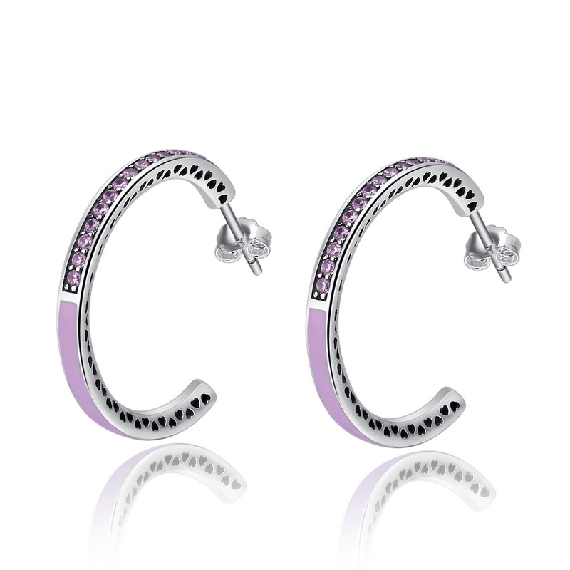 BISAER 925 Sterling Silver Radiant Hearts, Radiant Orchid Enamel & Cerise Crystals Finger Rings for Women Engagement Jewelry