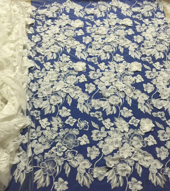 5yards Ivory solf water soluble 3d flower on tulle embroidery wedding dress fabric vintage organza lace guipure lace fabric