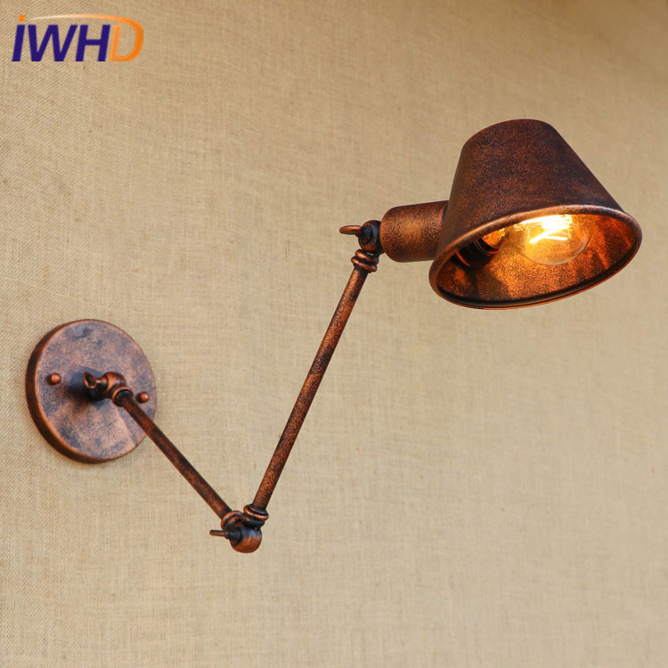 IWHD Iron Industrial Vintage Loft Wall Lamp Adjustable Retro Wall Sconce Bedside Light Fixtures Home Lighting Cafe Living Room vintage industrial edison glass bottle wall lamp loft retro wall light bedroom aisle cafe bar store hall bedside hall lighting