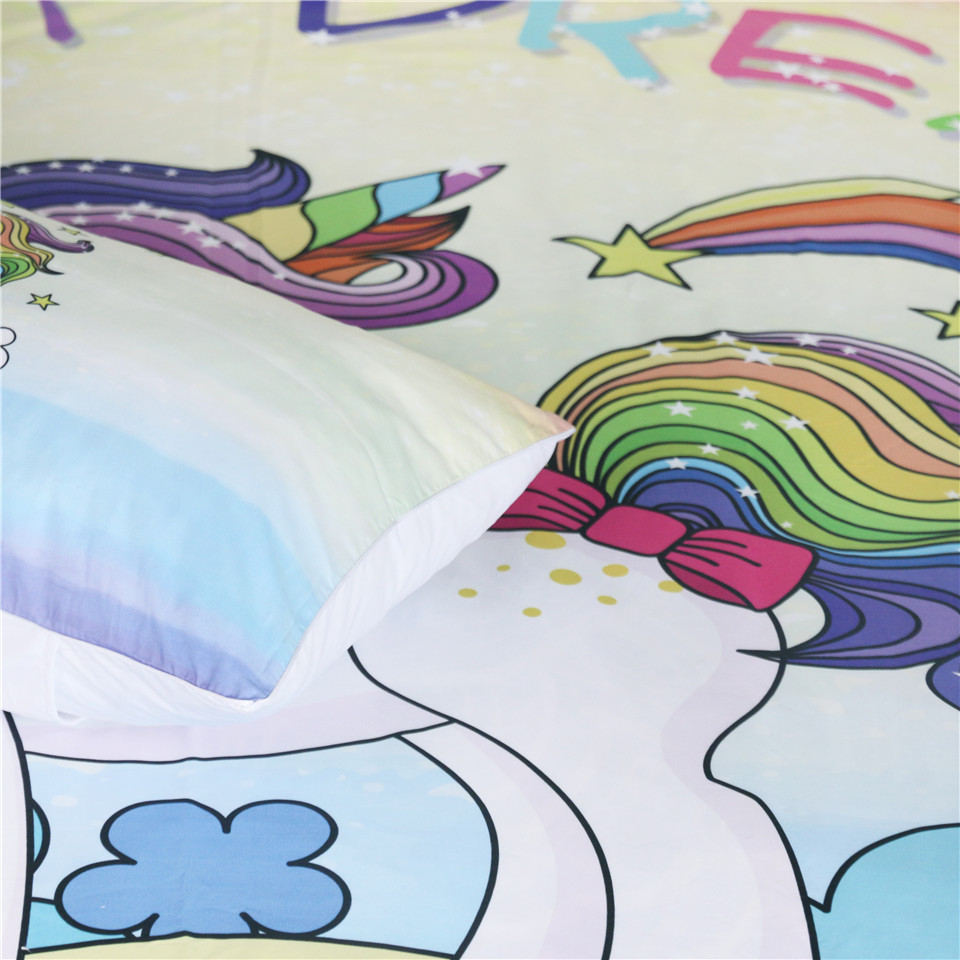 Möbel Matratzen Symbol Der Marke Beddingoutlet Cartoon Einhorn Kinder Bettwäsche Set Rose Floral Bettbezug Sterne Girly Home Textilien Lila Bettwäsche 3 Stücke Einzigen