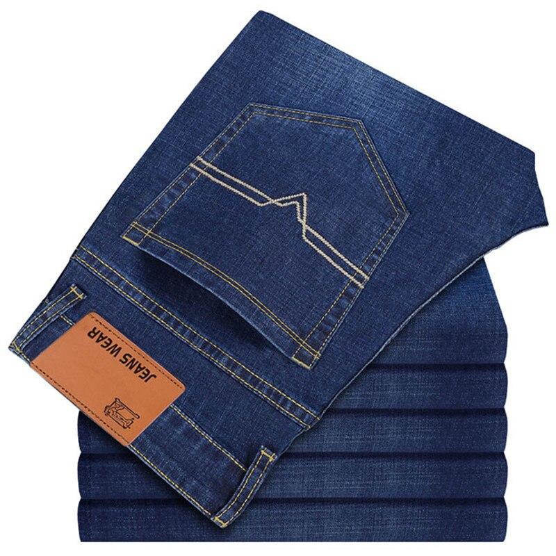 Fashion Brand 100% Cotton Spring Summer Men Jeans Slight Classic Denim Pants Male Washed Baggy Blue Designer Causal Jeans Man