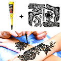 1 pcs Black Henna + Full Stencil, Mehndi Henna Tattoo Cones, Temporary Flash Tattoo Body Art Tatoo Wedding Adult Sex Products