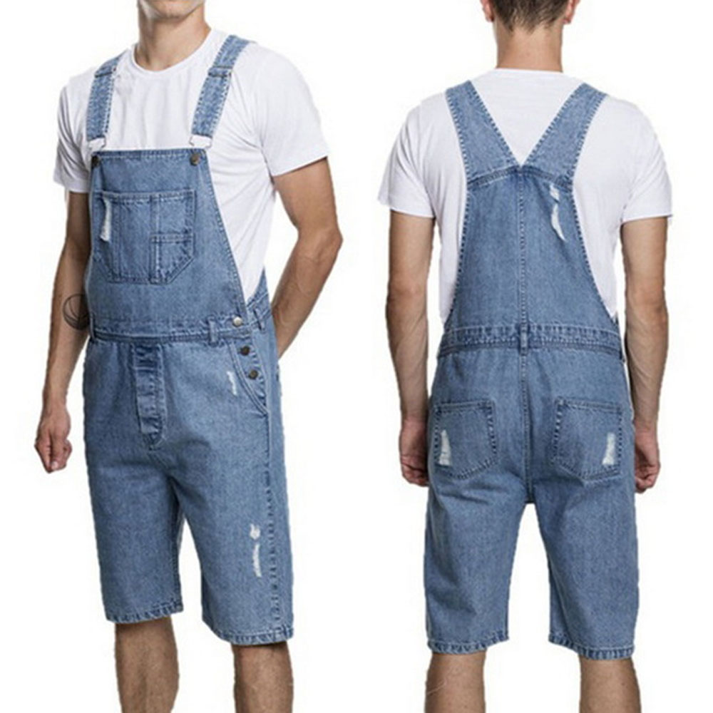 Fashion Vintage Overalls Jumpsuits New Ripped Men Casual Denim Bib Pants For Male Hole Short Knee Length Loose Jeans 2019 Summer