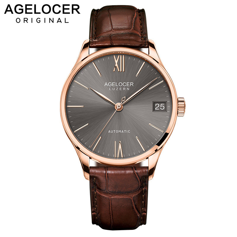 AGELOCER Swiss Luxury Casual Watches for Men Rose Gold Brown Dial Genuine Leather Strap Mechanical Automatic Watches 7073D2AGELOCER Swiss Luxury Casual Watches for Men Rose Gold Brown Dial Genuine Leather Strap Mechanical Automatic Watches 7073D2