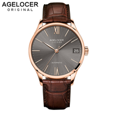AGELOCER Swiss Luxury Casual Watches for Men Rose Gold Brown Dial Genuine Leather Strap Mechanical Automatic 7073D2