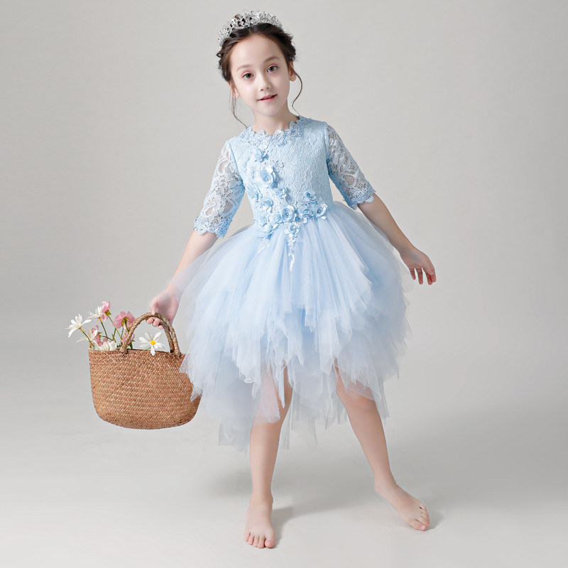 2018 Summer Autumn New Children Girls Appliques Flowers Princess Lace Prom Dress Baby Kids Front Short Back Long Tail Host Dress nitto neo gen 195 55 r15 85v