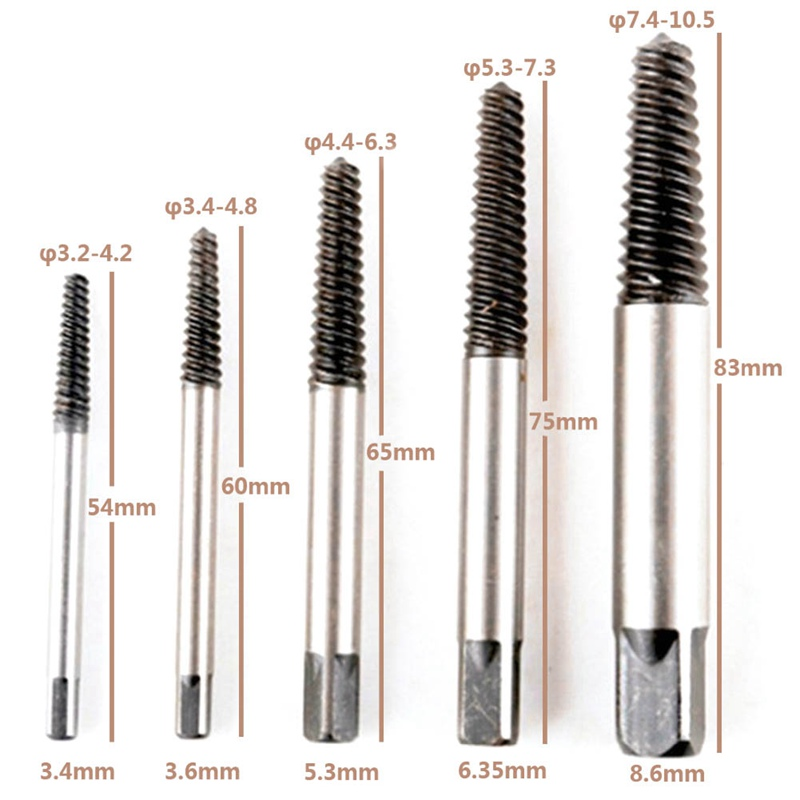 5pcs/set  Carbon Steel Screw Extractor Broken Bolt Remover Drill Guide Bits Set High Quality screw extractor