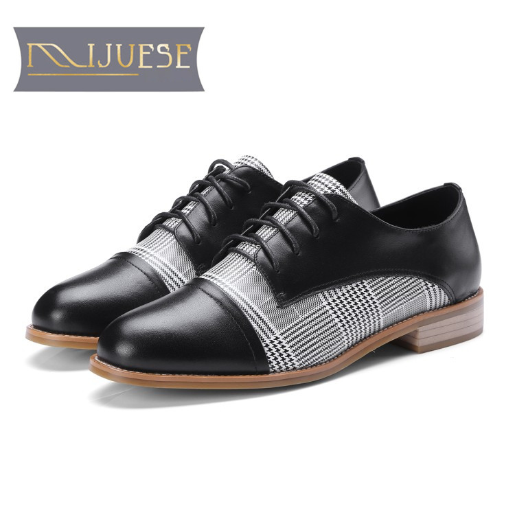 MLJUESE 2018 women flats black color cow leather round toe oxfords flats spring comfortable women shoes size 34-39 casual shoes 2016 lace up women flats solid color spring flats pointed toe flats sole platform shoes woman size 34 39 casual women shoes