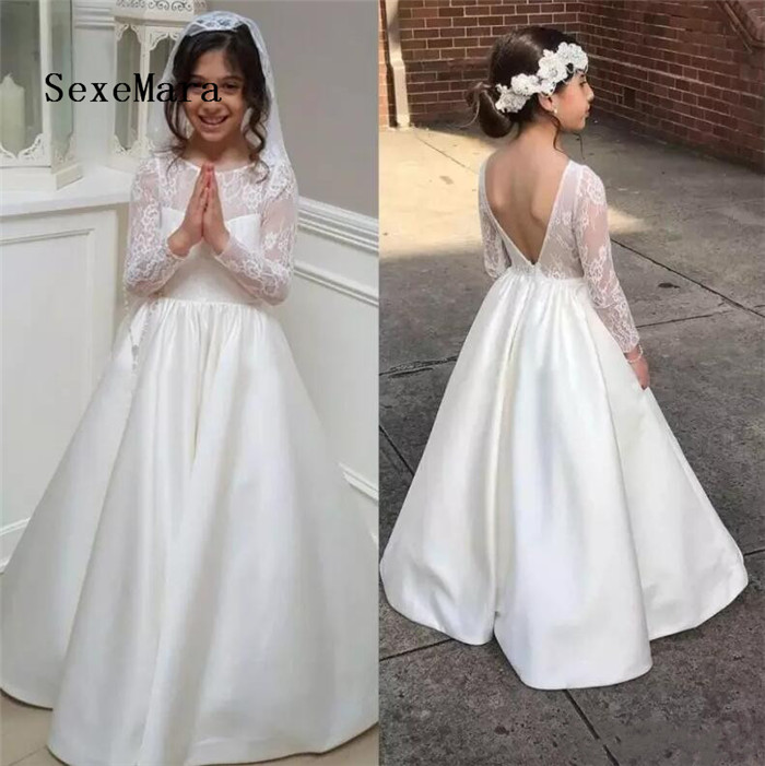 Long Sleeve A Line Lace Flower Girl Dress For Weddings 2018 Backless Junior Girls Dress Satin Kids First Communication Gown smock long sleeve a line dress