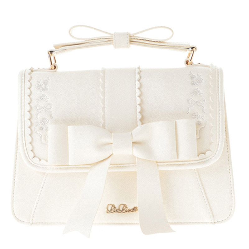 Lolita White Bow Tie Knot Harajuku Handbag Shoulder Bag Messenger Bag School Women Lady Girls Two
