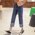 New 2017 Boyfriend Jeans Women Wide Leg Cuffs Trousers Casual Plus Size Loose Denim Pants High Waist Harem Women Jeans  6608
