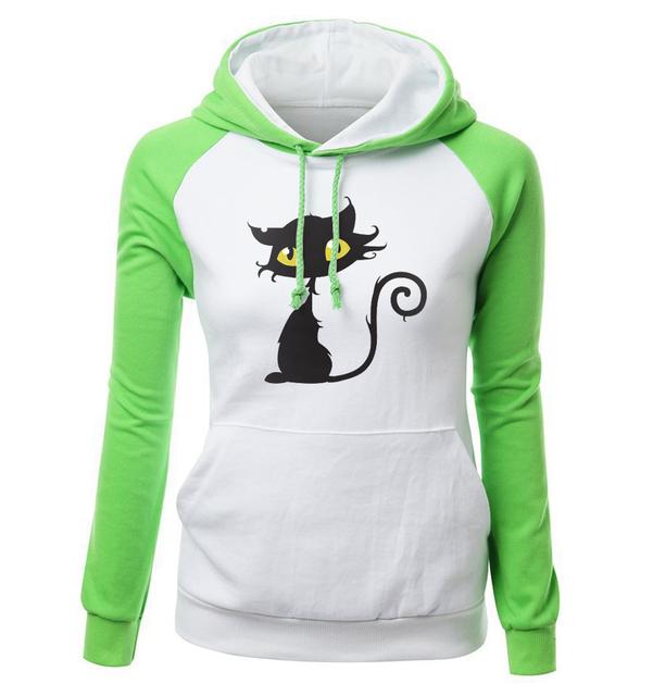 2018 Autumn Winter Sweatshirts Female Fleece Raglan Hoody Streetwear Kawaii Cat Hip Hop Women's Hoodies Brand Clothing Harajuku