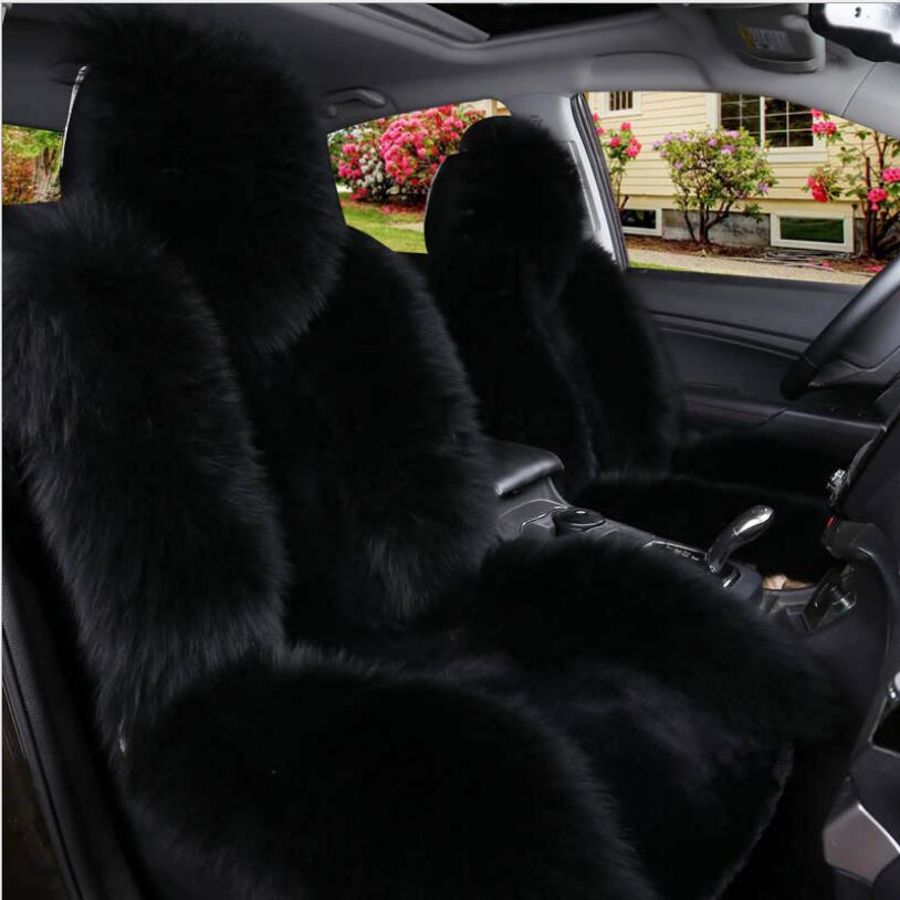 Natural fur sheepskin car seat covers 1pc for fornt seat universal size for auto cover car fur capes on the seat automobiles kopoha mex faux fur loog wool car seat covers universal size accessories car cushion automobiles high quality for back seat