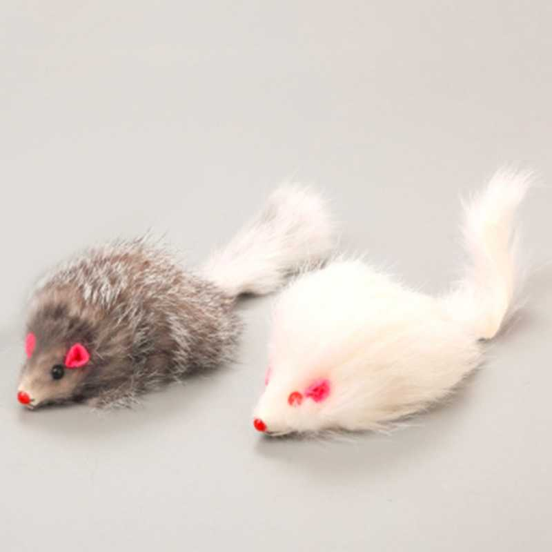 1Pcs 18cm Cat Pet Toys Real Fur Cat Long-haired Tail Feathers Mice Mouse Rabbit Cat and Dog Toy