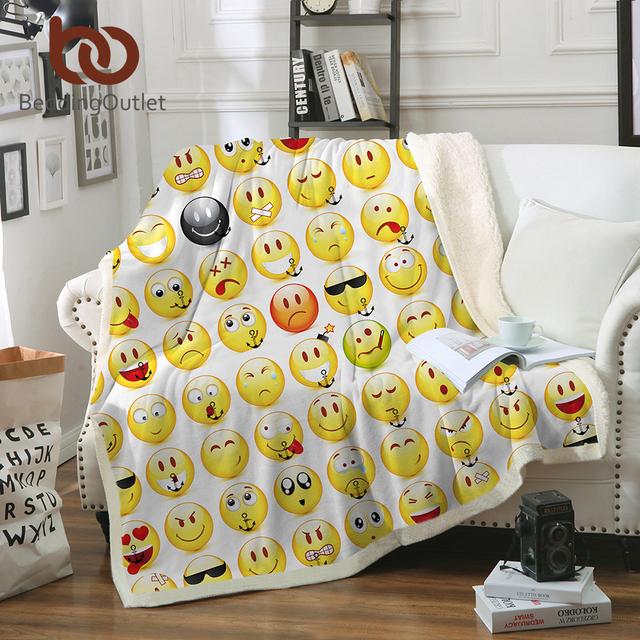 High Quality BeddingOutlet Sherpa Fleece Throw Blanket Smiley Face Bed Blankets For  Young People Soft Cozy Crystal Velvet