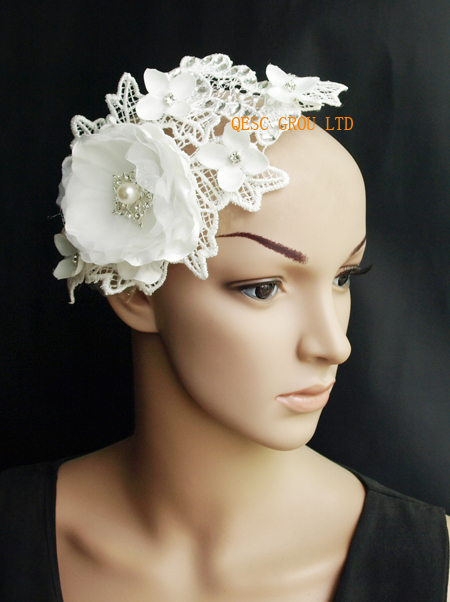 New ivory bridal fascinator with beads pearls silk flower lace new ivory bridal fascinator with beads pearls silk flower lace fascinator wedding accessory and bridal accessories in hair accessories from womens mightylinksfo