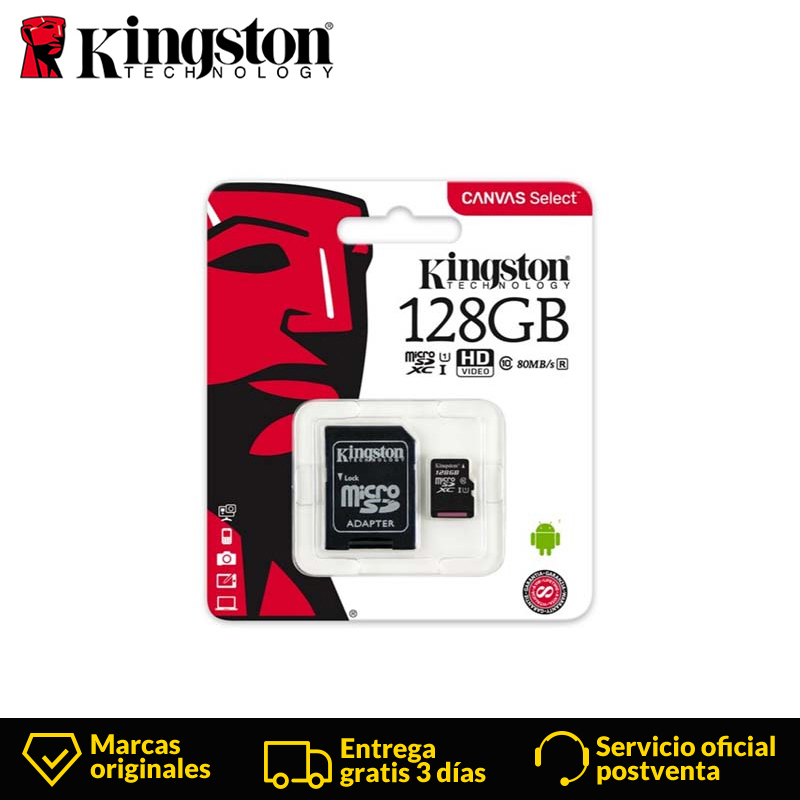 Kingston Technology Canvas Select Class 10 128 GB Micro SD Card MicroSDXC UHS I Memory sd card for smartphone 80 MB/s Black