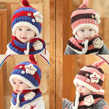 2016 Winter Baby Hats Scarf Sets Kids Skullies Beanie Knitted Collar Cute Bee Star Children Caps Hats Girls Boys Infantil Wear