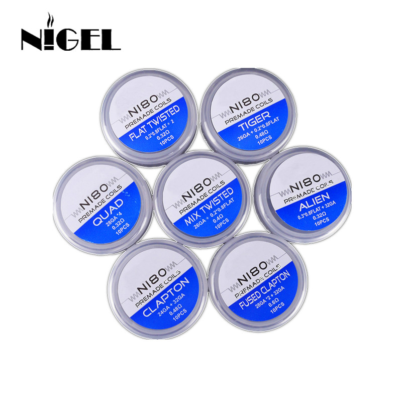 Ni80 Prebuilt Coil Qued Hive Alien Fused Clapton Mix Tiger Flat Nichrome Premade Vape Coil For Resistance Vape DIY Heating Wire