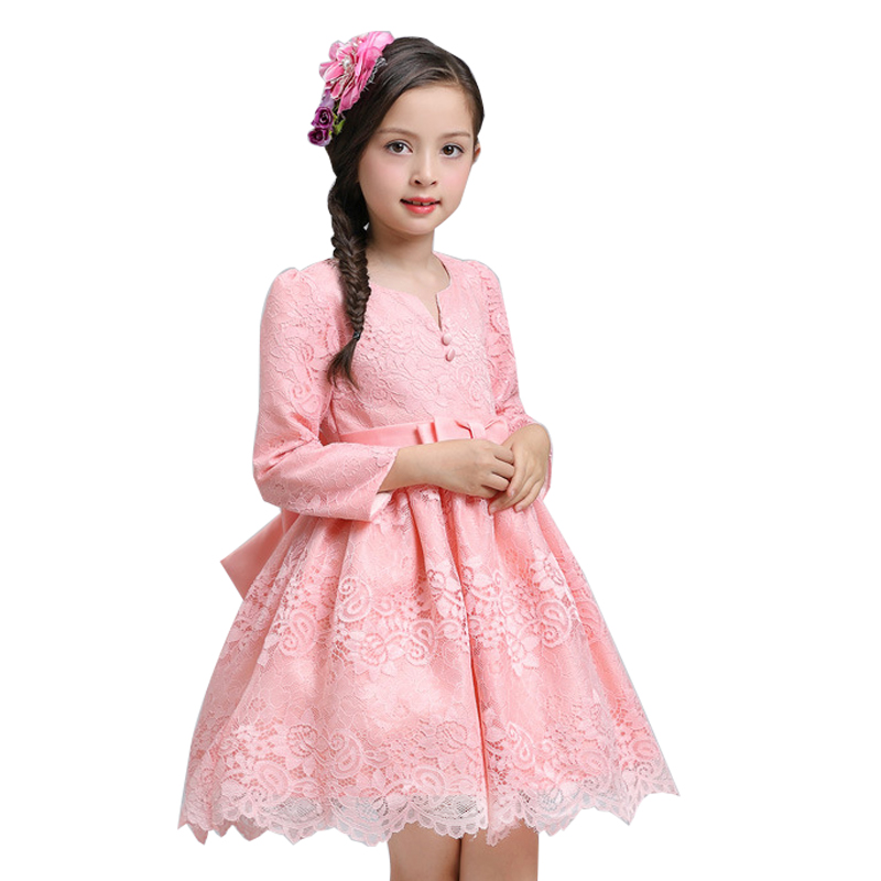 Princess Wedding long sleeve Dress Children Clothing Autumn Winter 2017 Toddler Girl Party dress for Girls Clothes Kids Dresses 2017 spring girl lace princess dress 2 14y children clothes kids dresses for girls long sleeve baby girl party wedding dress
