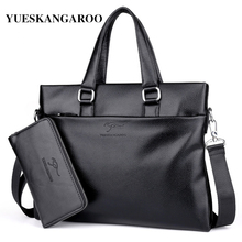 YUES KANGAROO Famous Brand Leather Men Bags A4 Document Business Briefcase 2017 New Handbag Male Crossbody