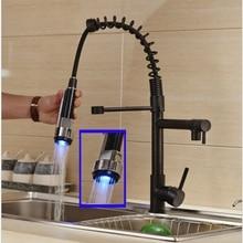 LED Schwenkauslauf Küchen-mischbatterie Pull-down-sprüher Eingerieben Bronze