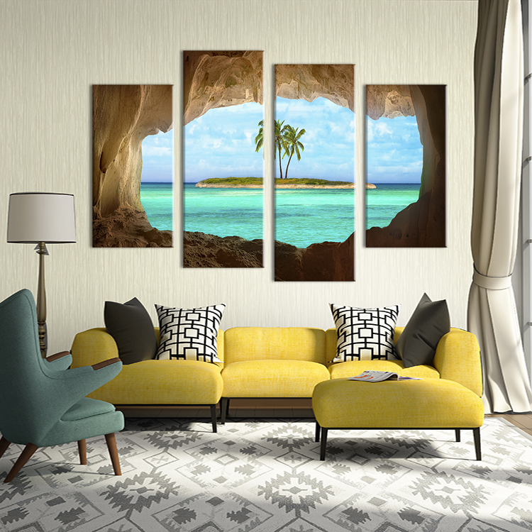 Artryst Frame 4 Piece Coconut Trees Island Canvas Painting Home Decor Pictures Wall Pictures For Living Room Modular Pictures