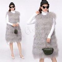 Mongolian Sheep Real Fur linking Skin Women Vest Autumn Winter Long Lamb Fur Vest Lady Real Striped Cut Fashion Collection