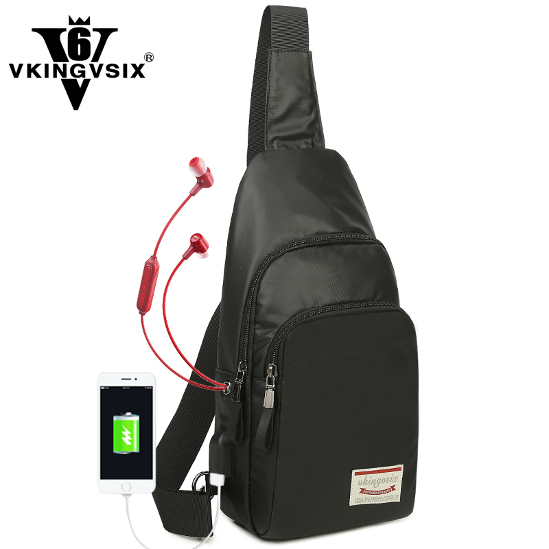 Vkingvsix USB кожа Сумки с гарнитуры отверстие Для женщин Для мужчин полиэстер Сумки на плечо мужской женский Crossbody Малый Сумка