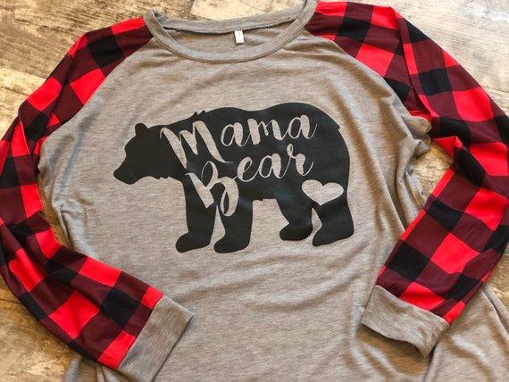 Aliexpress.com : Buy MAMA BEAR Plaid Print T Shirt Autumn ...
