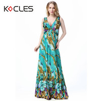 Plus Size 6 7XL Women Summer Holiday Beach Sexy Elegant Maxi Fit And Flare Flower Print