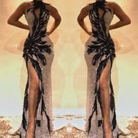 2019 Chic Бисер Кристалл Длинные пикантное платье для выпускного Холтер спинки платье Русалка на выпускной Империя Вечеринка платья Vestidos de gala