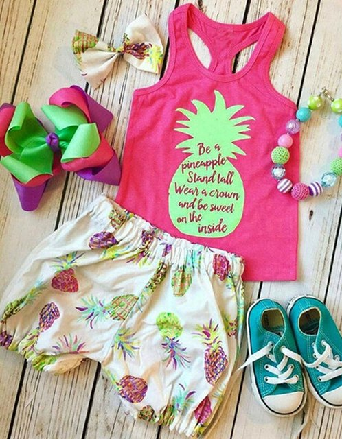 848e5708d70ee Oklady Moonker Toddler Baby Girls Summer Clothes Pineapple T-Shirt Top  +Shorts Outfit 2pcs Set