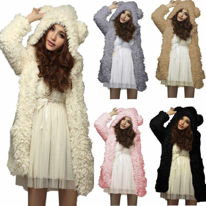 ZANZEA Jas 2019 Mode Winter Warm Vrouwen Dikker Fleece Lange Hoodies Sweatshirts Beer Oor Hooded Bovenkleding Plus Size Jas