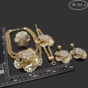 Image 2 - Yulaili Pageantry dekoracyjny wzór Fashion Design zestaw biżuterii dubajskiej duże kwiatowe kształty naszyjnik kolczyki Bracelent Ring