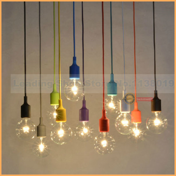 new design e27 socket chandelier lamp light fixture hanging color line silicone holder pendant. Black Bedroom Furniture Sets. Home Design Ideas