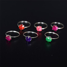 10pcs/Lot Colorful Crystal Silver Plated Rings For Children Girls Wedding Jewelry Accessories Wholesale Inner Diameter 14mm