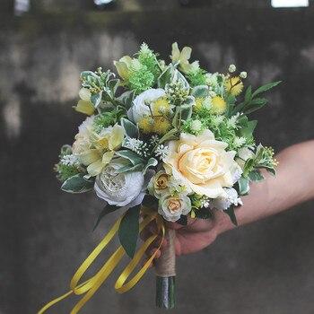 Fleurs Artificielles Jaunes | JaneVini Bouquets De Mariage élégants Fleurs De Mariée Jaunes Faux Bouquet Mariage Soie Artificielle Roses Mariées Accessoires De Mariage